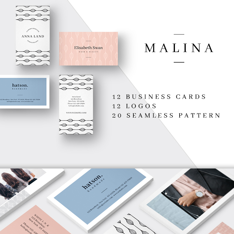 MALINA Business Cards + Logos + Patterns Corporate Identity Template