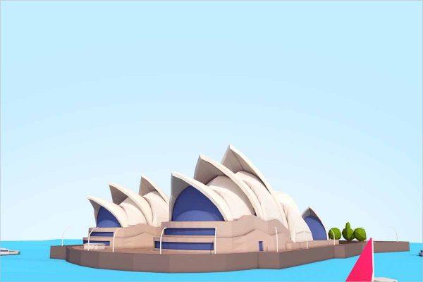 Cartoon Low Poly Sydney Opera House