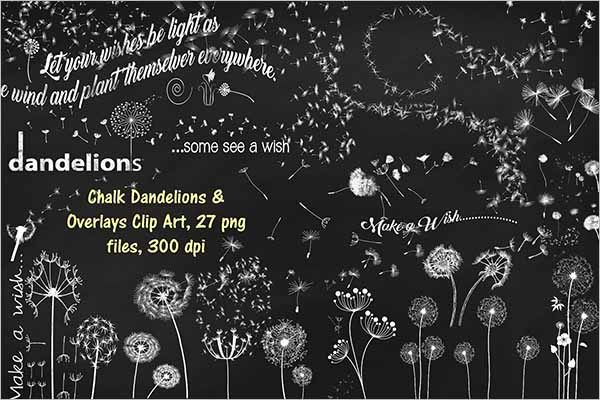 Chalk Dandelions Overlays Clip Art