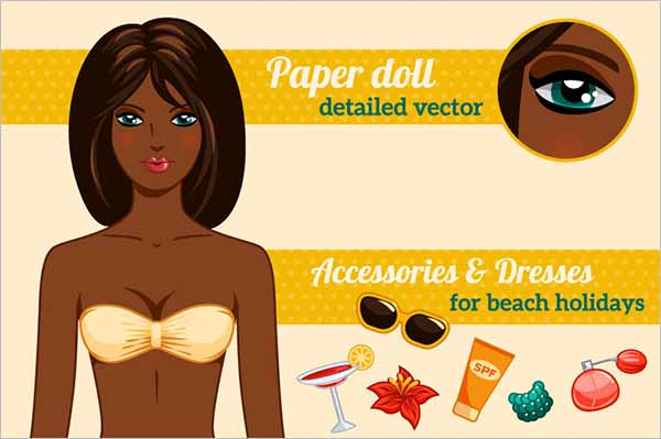 Paper Doll Template Illustration