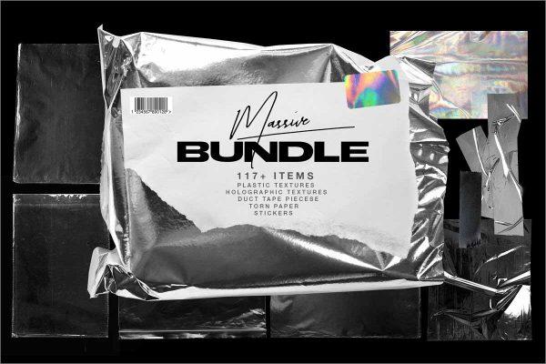 Plastic Wrap & Torn Paper Bundle