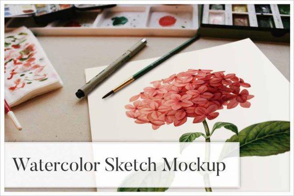 Watercolor Sketch Mockup