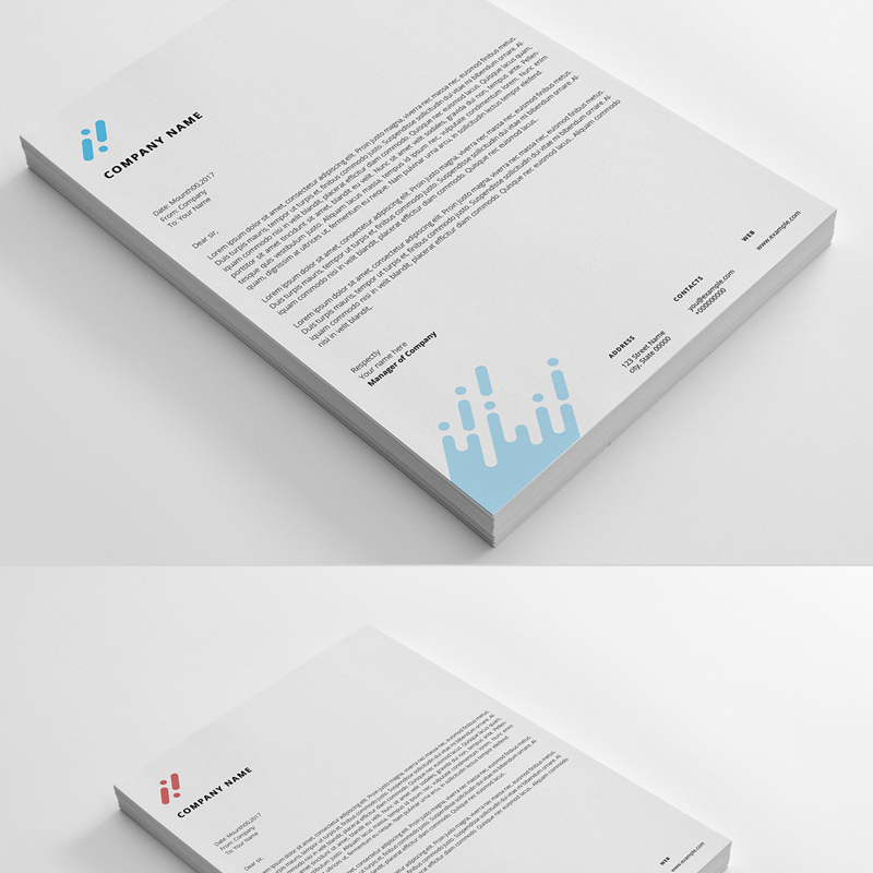Letterhead Set With Abstract Design Corporate Identity Template
