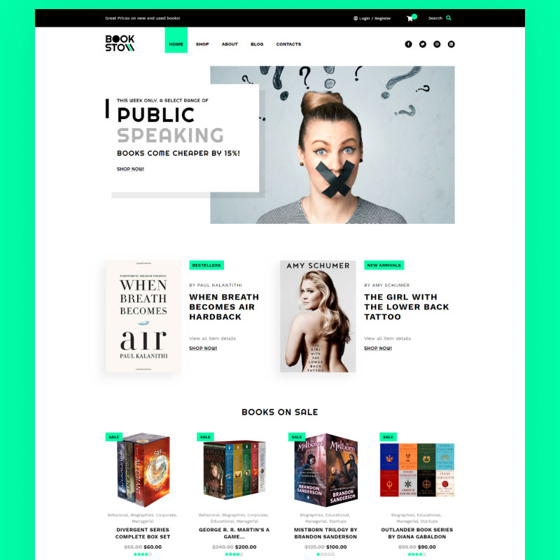 BookSto - Bookstore ECommerce Modern Elementor WooCommerce Theme