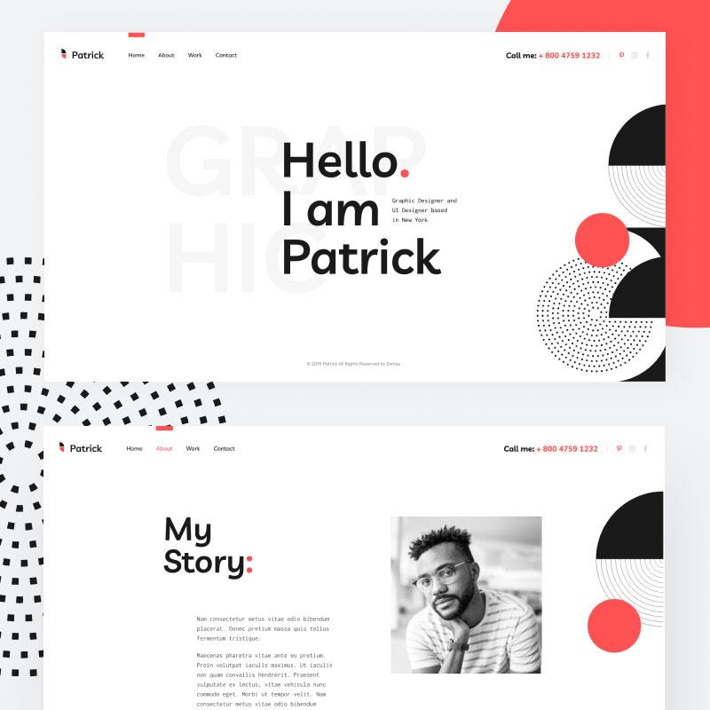Patrick - Designer Portfolio Website for Personal Promotion WordPress Theme