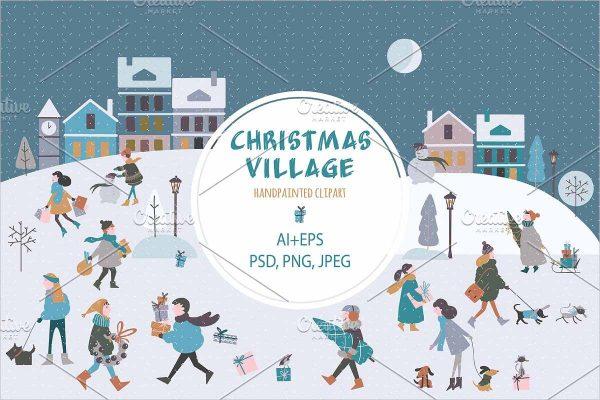 Christmas Village Clip art