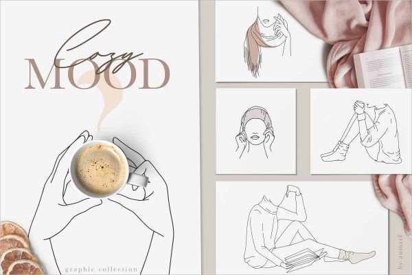 Cozy Mood Line Art Collection