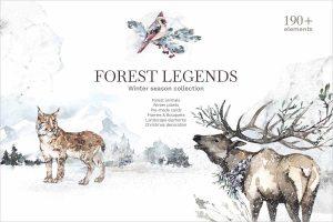 Forest Legends Winter animals set