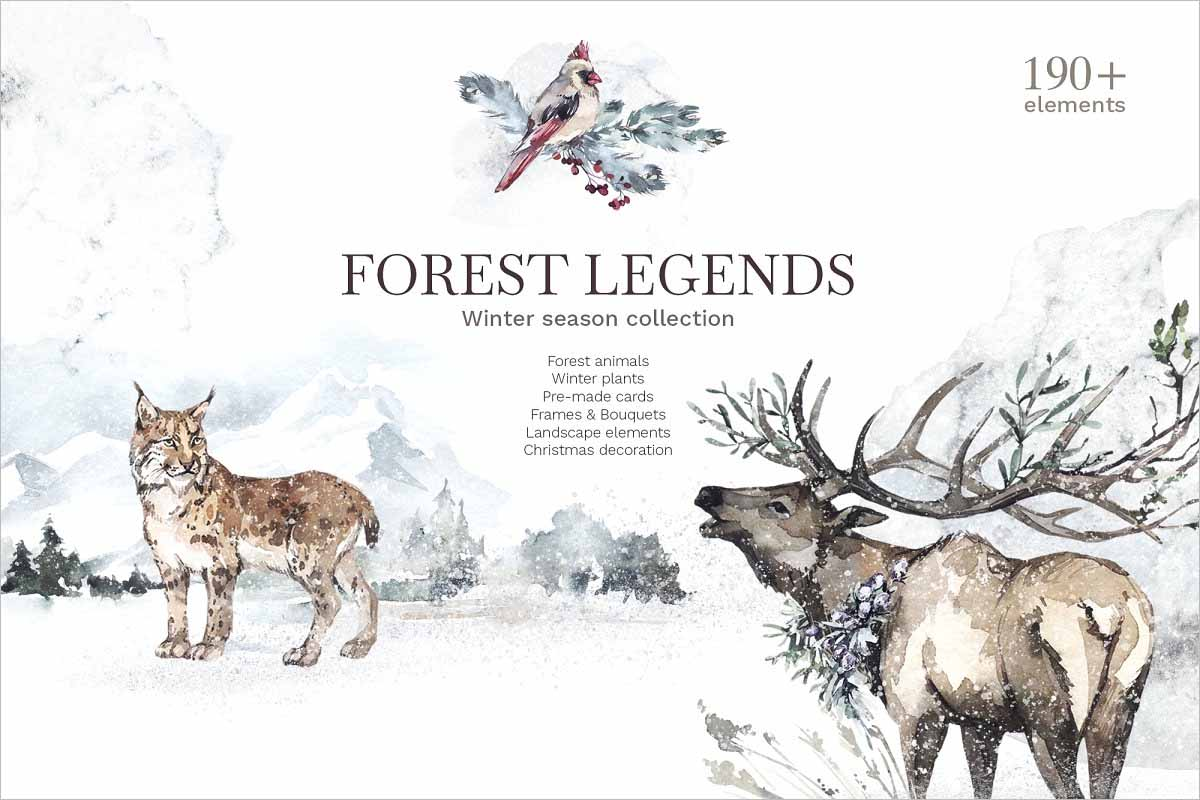 Forest Legends Winter animals set