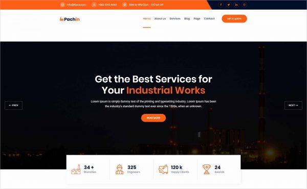 Pachin Industry Factory WordPress Theme