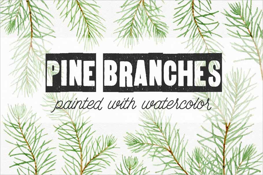 Watercolor Pine Branches