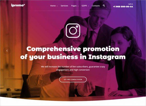 iPromo Instagram Agency WordPress Theme
