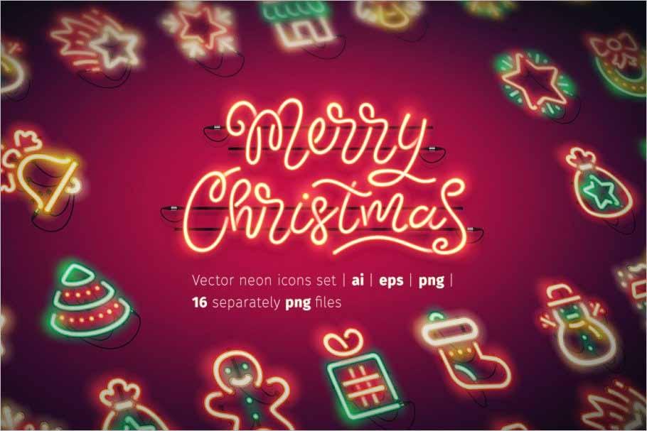Christmas Colorful Neon Icons