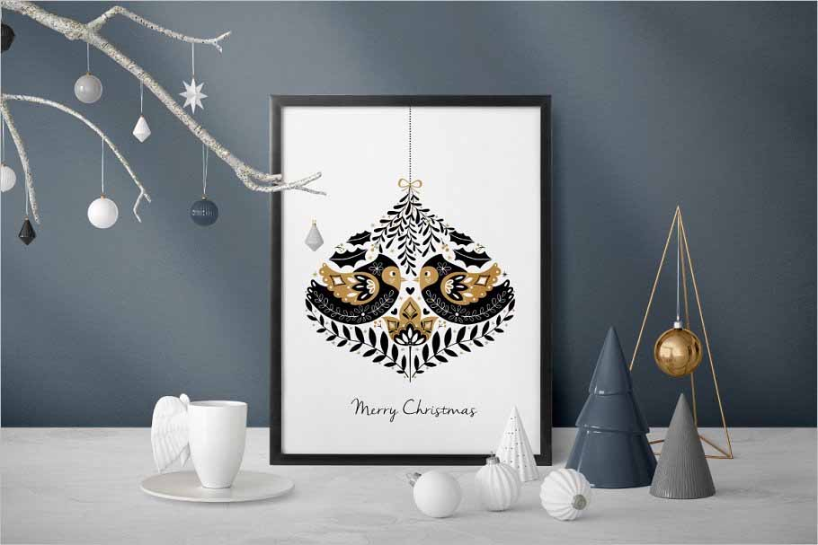 Gold Christmas Folk Art collection