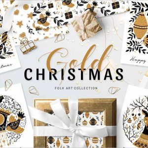 Gold Christmas Folk Art collection