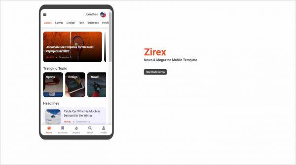 Zirex News Magazine Mobile Template
