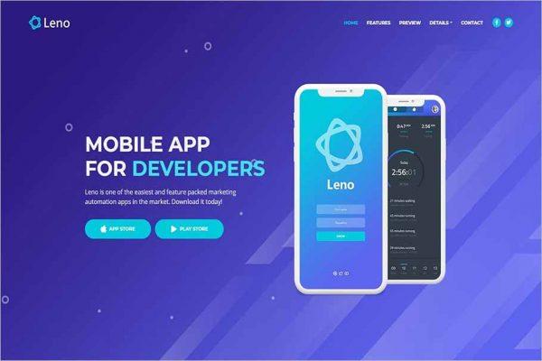 Leno Mobile App Landing HTML Page