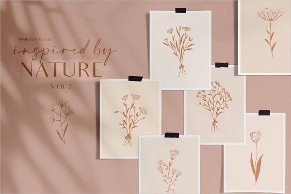 Floral Line Drawings Logo Elements