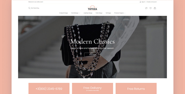 Bags Store Template - Toteza Magento Theme