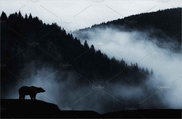 Dark landscape with bear