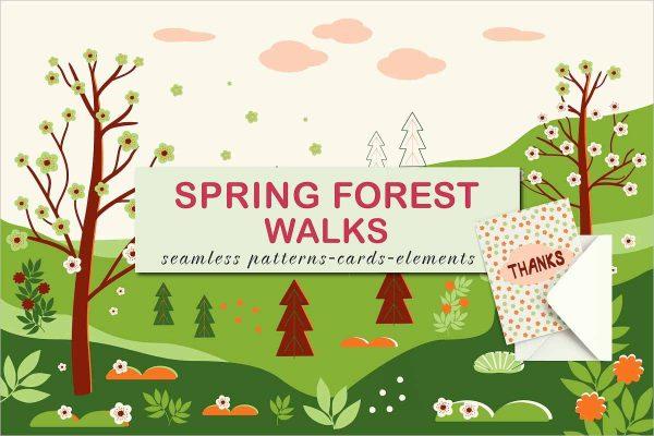 Spring forest walks Vector design