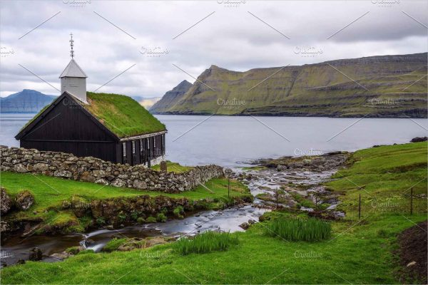 Wooden church on Faroe Islands
